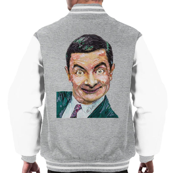 Sidney Maurer Original Portrait Of Mr Bean Rowan Atkinson Mens Varsity Jacket - Mens Varsity Jacket