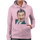Sidney Maurer Original Portrait Of Mr Bean Rowan Atkinson Womens Hooded Sweatshirt - Small / Light Pink - Womens Hooded Sweatshirt