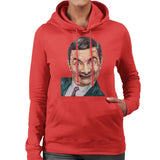 Sidney Maurer Original Portrait Of Mr Bean Rowan Atkinson Womens Hooded Sweatshirt - Womens Hooded Sweatshirt