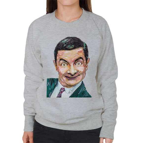 Sidney Maurer Original Portrait Of Mr Bean Rowan Atkinson Womens Sweatshirt - Womens Sweatshirt
