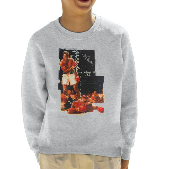 Sidney Maurer Original Portrait Of Muhammad Ali Sonny Liston Knockout Kids Sweatshirt - Kids Boys Sweatshirt