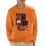 Sidney Maurer Original Portrait Of Muhammad Ali Sonny Liston Knockout Kids Sweatshirt - Orange / X-Small (3-4 yrs) - Kids Boys Sweatshirt