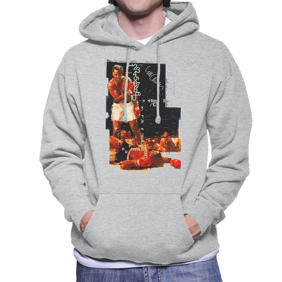 Sidney Maurer Original Portrait Of Muhammad Ali Sonny Liston Knockout Mens Hooded Sweatshirt - Mens Hooded Sweatshirt