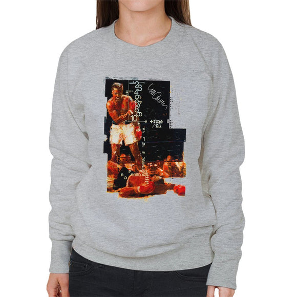 Sidney Maurer Original Portrait Of Muhammad Ali Sonny Liston Knockout Womens Sweatshirt - Womens Sweatshirt