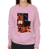 Sidney Maurer Original Portrait Of Muhammad Ali Sonny Liston Knockout Womens Sweatshirt - Light Pink / Small - Womens Sweatshirt