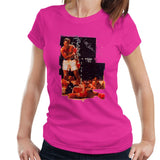 Sidney Maurer Original Portrait Of Muhammad Ali Sonny Liston Knockout Womens T-Shirt - Hot Pink / Small - Womens T-Shirt