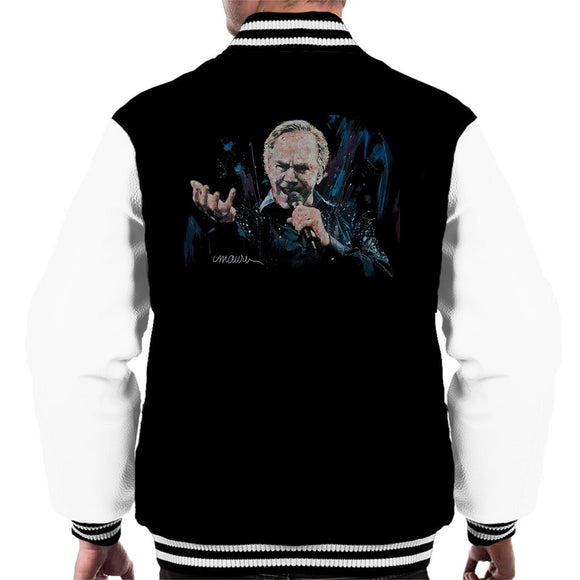 Sidney Maurer Original Portrait Of Neil Diamond Singing Mens Varsity Jacket - Mens Varsity Jacket