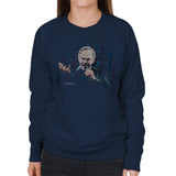 Sidney Maurer Original Portrait Of Neil Diamond Singing Womens Sweatshirt - Small / Navy Blue - Womens Sweatshirt