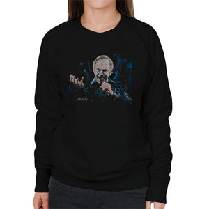 Sidney Maurer Original Portrait Of Neil Diamond Singing Womens Sweatshirt - Womens Sweatshirt