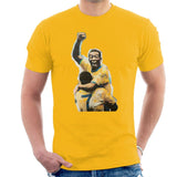 Sidney Maurer Original Portrait Of Pele Mens T-Shirt - Small / Gold - Mens T-Shirt