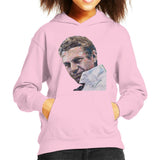 Sidney Maurer Original Portrait Of Steve McQueen Kids Hooded Sweatshirt - X-Small (3-4 yrs) / Light Pink - Kids Boys Hooded Sweatshirt
