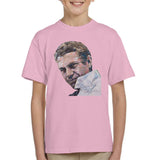 Sidney Maurer Original Portrait Of Steve McQueen Kids T-Shirt - X-Small (3-4 yrs) / Light Pink - Kids Boys T-Shirt