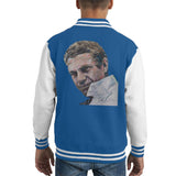 Sidney Maurer Original Portrait Of Steve McQueen Kids Varsity Jacket - X-Small (3-4 yrs) / Royal/White - Kids Boys Varsity Jacket
