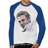 Sidney Maurer Original Portrait Of Steve McQueen Mens Baseball Long Sleeved T-Shirt - Small / White/Royal - Mens Baseball Long Sleeved