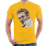 Sidney Maurer Original Portrait Of Steve McQueen Mens T-Shirt - Small / Gold - Mens T-Shirt