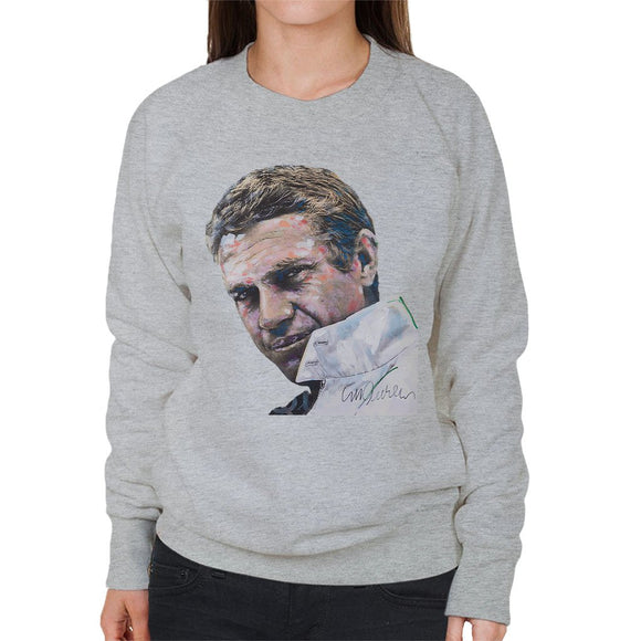 Sidney Maurer Original Portrait Of Steve McQueen Womens Sweatshirt - Womens Sweatshirt