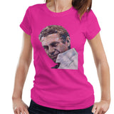 Sidney Maurer Original Portrait Of Steve McQueen Womens T-Shirt - Small / Hot Pink - Womens T-Shirt