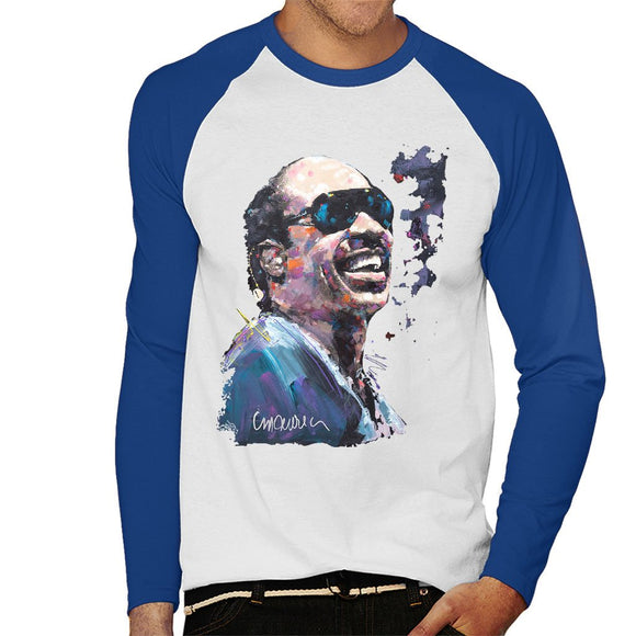 Sidney Maurer Original Portrait Of Stevie Wonder Mens Baseball Long Sleeved T-Shirt - Mens Baseball Long Sleeved T-Shirt