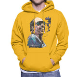 Sidney Maurer Original Portrait Of Stevie Wonder Mens Hooded Sweatshirt - Small / Gold - Mens Hooded Sweatshirt