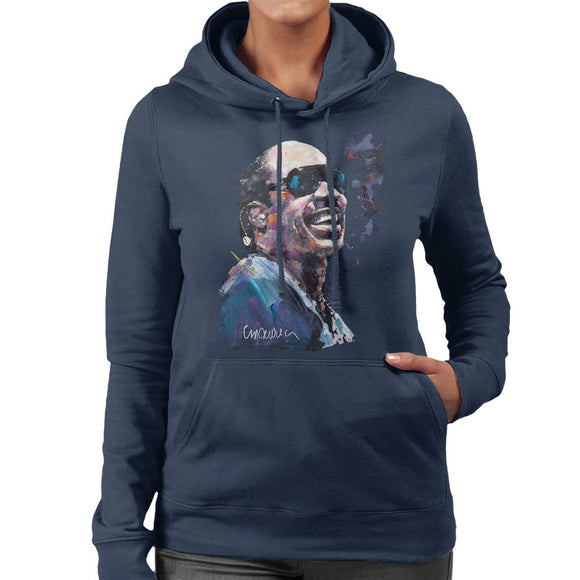 Sidney Maurer Original Portrait Of Stevie Wonder Womens Hooded Sweatshirt - Womens Hooded Sweatshirt