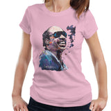 Sidney Maurer Original Portrait Of Stevie Wonder Womens T-Shirt - Small / Light Pink - Womens T-Shirt