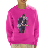 Sidney Maurer Original Portrait Of Bob Dylan On Bass Kids Sweatshirt - X-Small (3-4 yrs) / Hot Pink - Kids Boys Sweatshirt