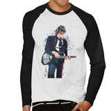 Sidney Maurer Original Portrait Of Bob Dylan On Bass Mens Baseball Long Sleeved T-Shirt - Mens Baseball Long Sleeved T-Shirt