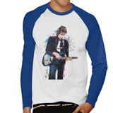 Sidney Maurer Original Portrait Of Bob Dylan On Bass Mens Baseball Long Sleeved T-Shirt - Small / White/Royal - Mens Baseball Long Sleeved
