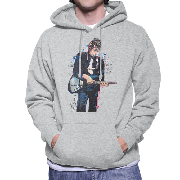 Sidney Maurer Original Portrait Of Bob Dylan On Bass Mens Hooded Sweatshirt - Mens Hooded Sweatshirt