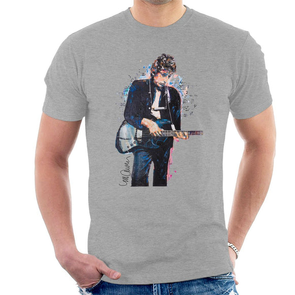 Sidney Maurer Original Portrait Of Bob Dylan On Bass Mens T-Shirt - Mens T-Shirt