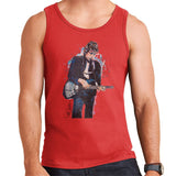 Sidney Maurer Original Portrait Of Bob Dylan On Bass Mens Vest - Small / Red - Mens Vest