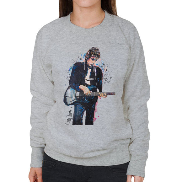 Sidney Maurer Original Portrait Of Bob Dylan On Bass Womens Sweatshirt - Womens Sweatshirt