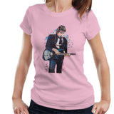 Sidney Maurer Original Portrait Of Bob Dylan On Bass Womens T-Shirt - Small / Light Pink - Womens T-Shirt