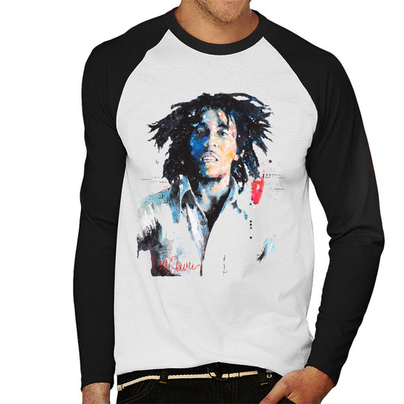 Sidney Maurer Original Portrait Of Bob Marley Men's Baseball Long Sleeved T-Shirt