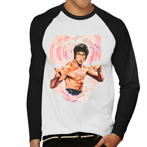 Sidney Maurer Original Portrait Of Bruce Lee Enter The Dragon Men's Baseball Long Sleeved T-Shirt