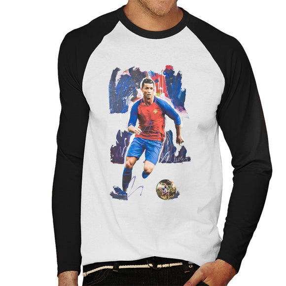 Sidney Maurer Original Portrait Of Cristiano Ronaldo Men's Baseball Long Sleeved T-Shirt