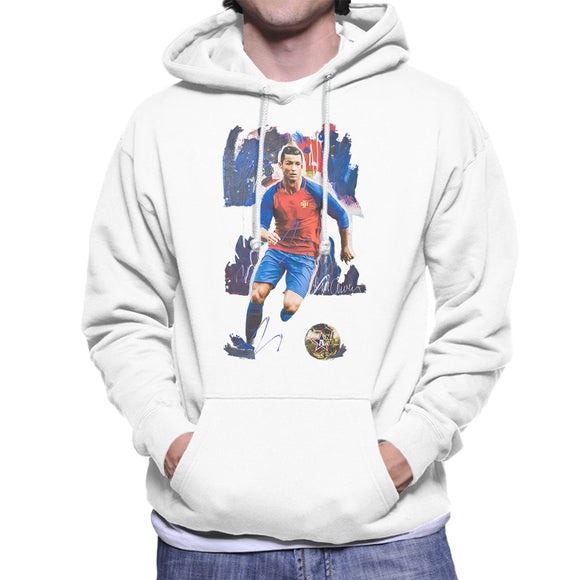 Sidney Maurer Original Portrait Of Cristiano Ronaldo Men's Hooded Sweatshirt
