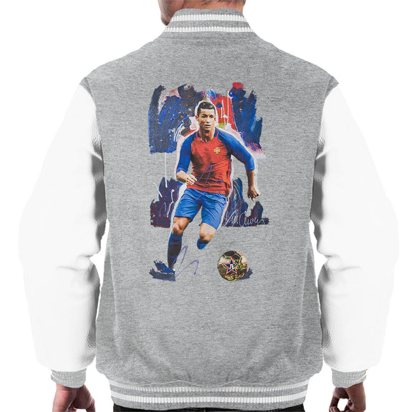 Sidney Maurer Original Portrait Of Cristiano Ronaldo Men's Varsity Jacket