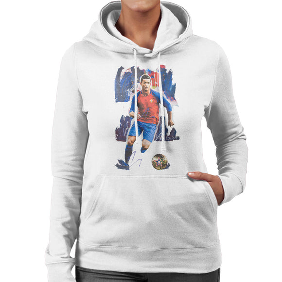 Sidney Maurer Original Portrait Of Cristiano Ronaldo Women's Hooded Sweatshirt