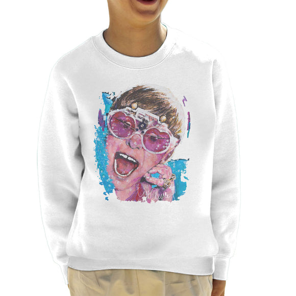Sidney Maurer Original Portrait Of Elton John Pink Glasses Kid's Sweatshirt