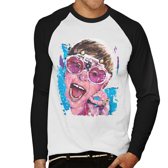 Sidney Maurer Original Portrait Of Elton John Pink Glasses Men's Baseball Long Sleeved T-Shirt