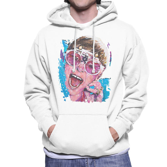 Sidney Maurer Original Portrait Of Elton John Pink Glasses Men's Hooded Sweatshirt
