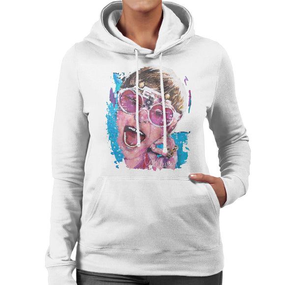 Sidney Maurer Original Portrait Of Elton John Pink Glasses Women's Hooded Sweatshirt