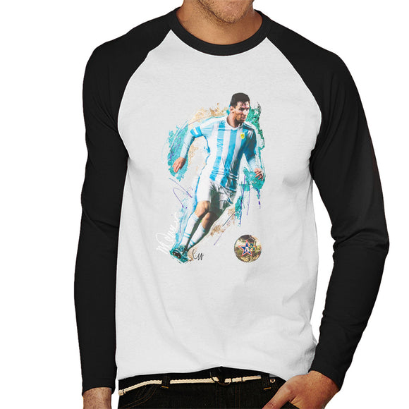Sidney Maurer Original Portrait Of Lionel Messi Men's Baseball Long Sleeved T-Shirt