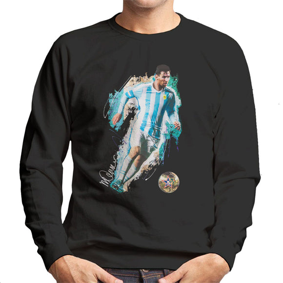 Sidney Maurer Original Portrait Of Lionel Messi Men's Sweatshirt