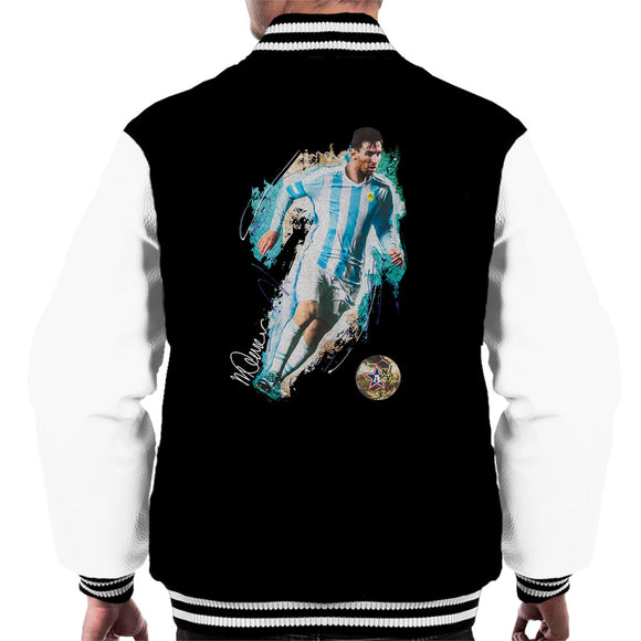 Sidney Maurer Original Portrait Of Lionel Messi Men's Varsity Jacket
