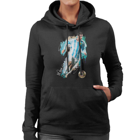 Sidney Maurer Original Portrait Of Lionel Messi Women's Hooded Sweatshirt