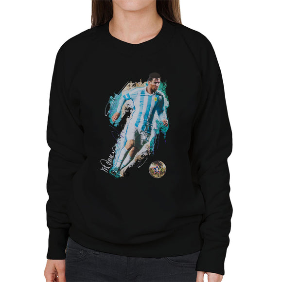 Sidney Maurer Original Portrait Of Lionel Messi Women's Sweatshirt