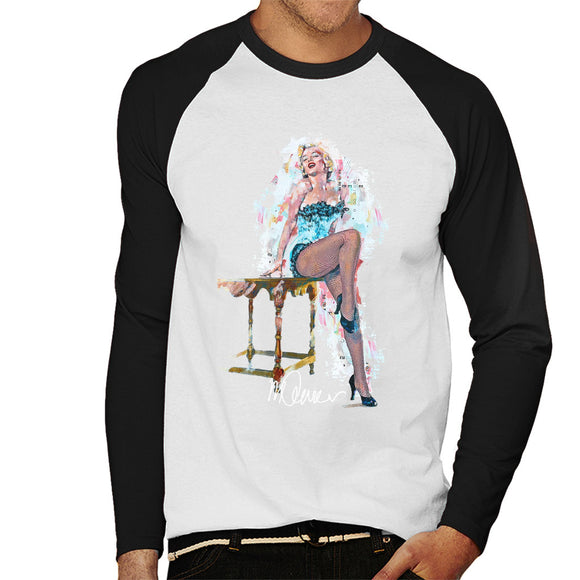 Sidney Maurer Original Portrait Of Marilyn Monroe Stockings Men's Baseball Long Sleeved T-Shirt