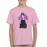 Sidney Maurer Original Portrait Of Audrey Hepburn Kids T-Shirt - X-Small (3-4 yrs) / Light Pink - Kids Boys T-Shirt
